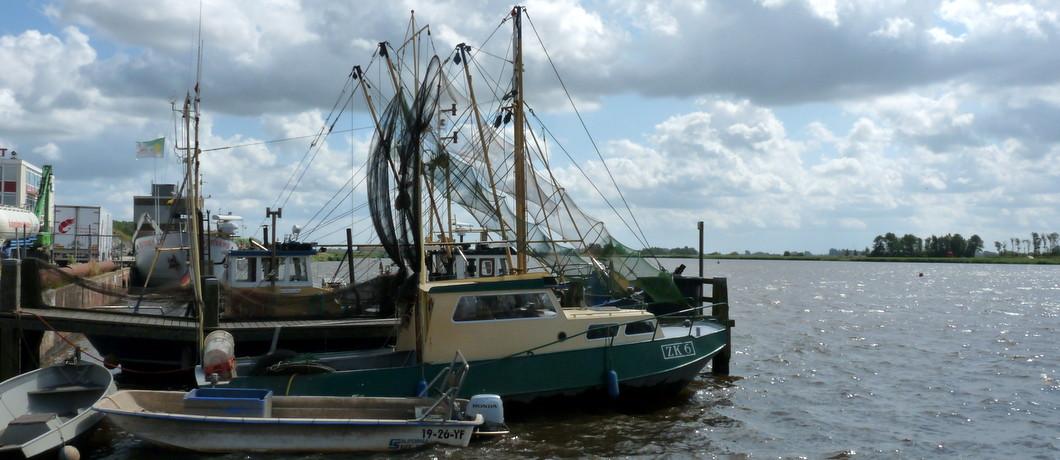 Vissersboten in het Reitdiep bij Zoutkamp