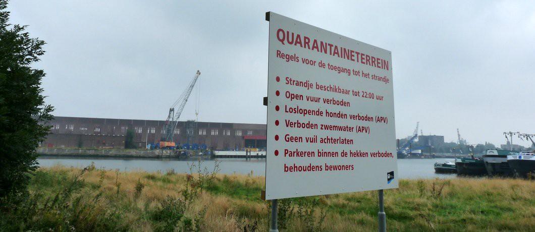 Richtlijnen voor het strand van het Quarantaineterrein bij Rotterdam