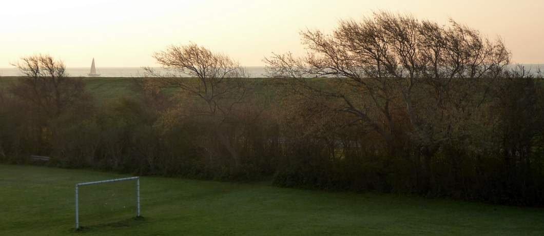 Waddenzee met zeilboot bij zonsopgang