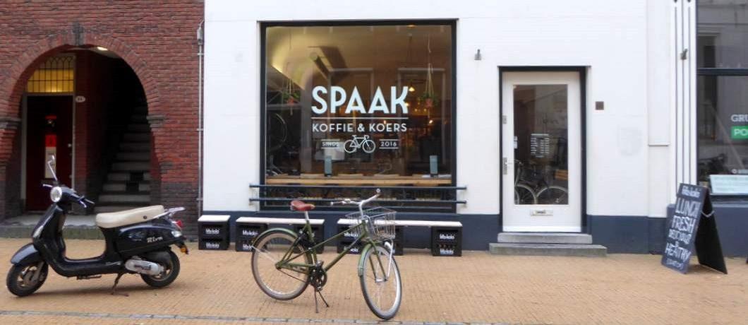 Gevel van fietsenwinkel Spaak: koffie en koers in Groningen centrum
