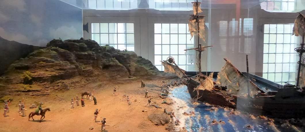 Maquette van de schipbreuk van Hendrick Hamel